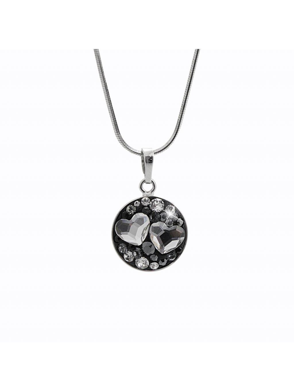 92300325jetStříbrný náhrdelník Dvě Srdíčka Swarovski jet