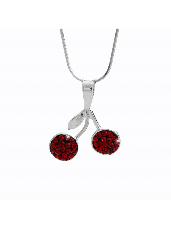 92300327siStříbrný náhrdelník Červené Třešně Swarovski crystal