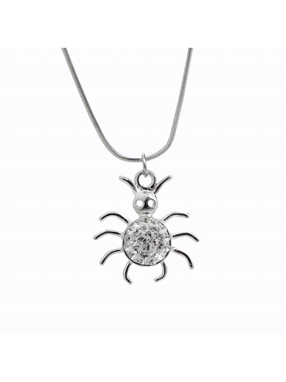 92300328crStříbrný náhrdelník Pavouček pro štěstí Swarovski