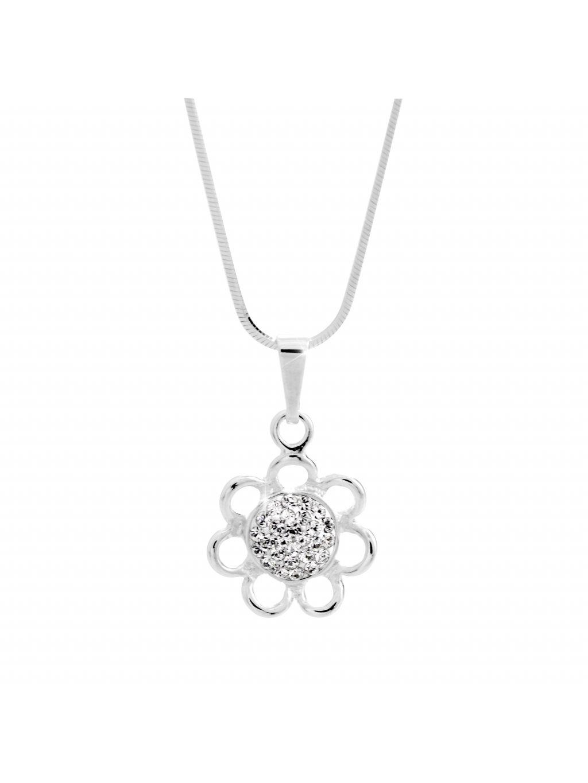 92300329crStříbrný náhrdelník Květina Swarovski crystal