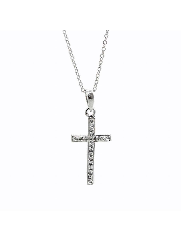 92300331crStříbrný náhrdelník Křížek Swarovski