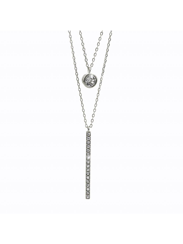 92300332crStříbrný náhrdelník Dvojřetízek Swarovski