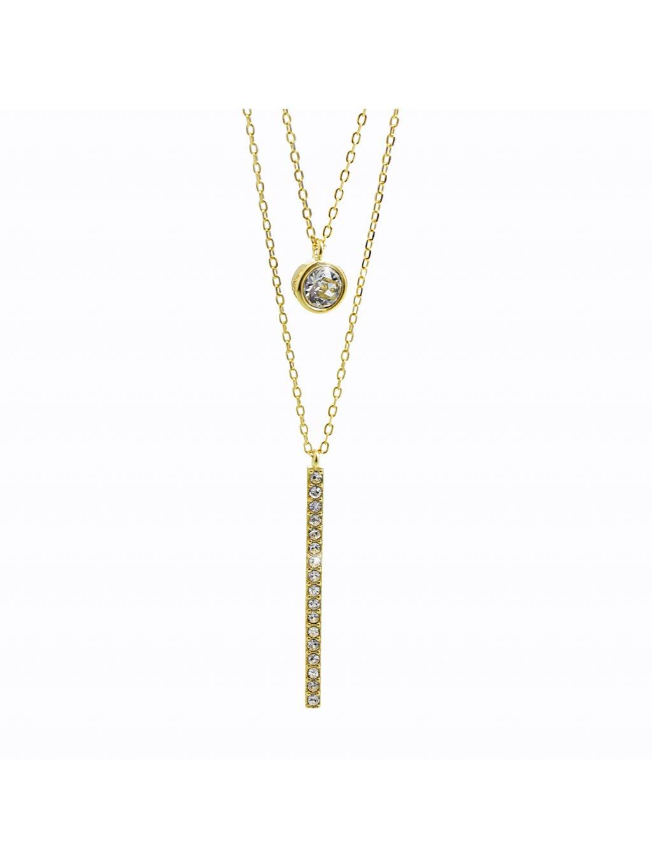 92300332g crStříbrný náhrdelník Dvojřetízek Swarovski gold