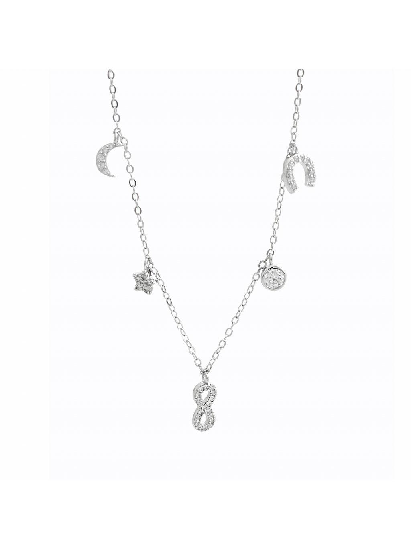 92300343cr Stříbrný náhrdelník se symboly lásky a života Swarovski