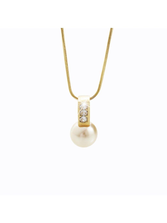 Náhrdelník s perlou a kameny Swarovski® Golden