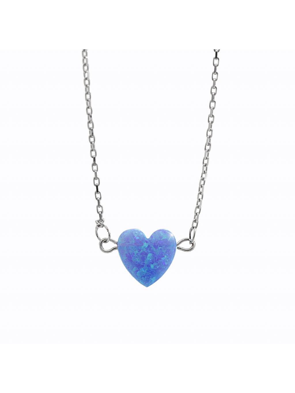 92300354aq Stříbrný náhrdelník opálkové srdíčko blue