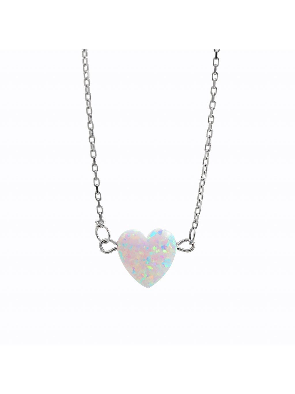 92300354cr Stříbrný náhrdelník opálkové srdíčko white