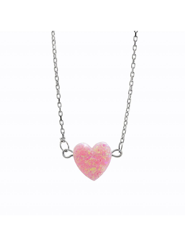 92300354ro Stříbrný náhrdelník opálkové srdíčko rosa