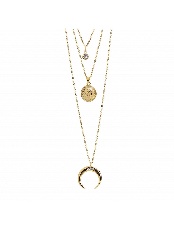 J61300729g  Náhrdelník trojitý s přívěšky Swarovski Crystals Gold
