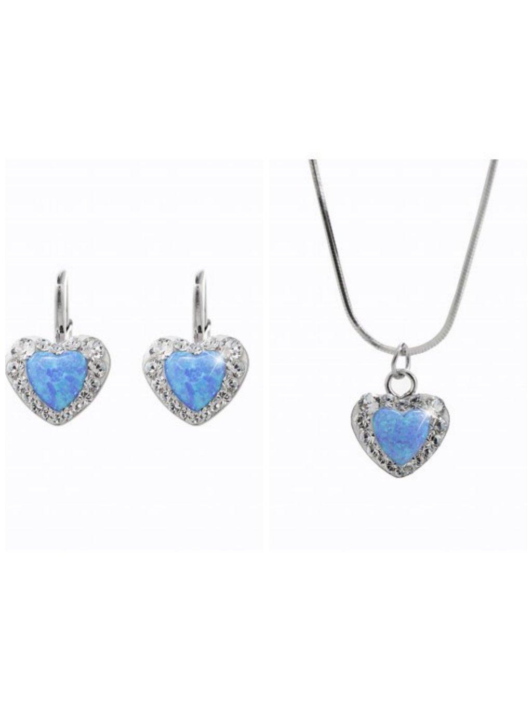 92300356blStříbrný náhrdelník Opálové Srdíčko Swarovski blue