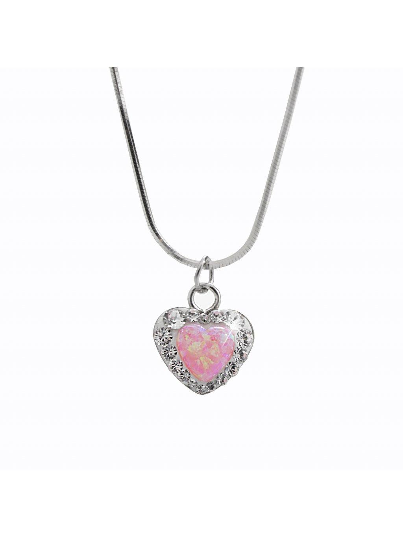 92300356roStříbrný náhrdelník Opálové Srdíčko Swarovski rosa