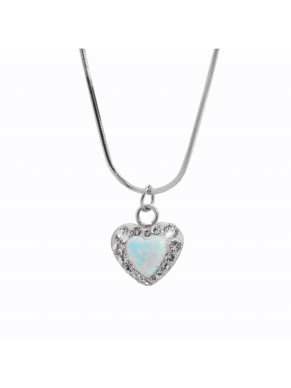 92300356whStříbrný náhrdelník Opálové Srdíčko Swarovski white