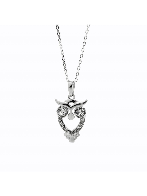 92300358cr Stříbrný náhrdelník sovička Swarovski