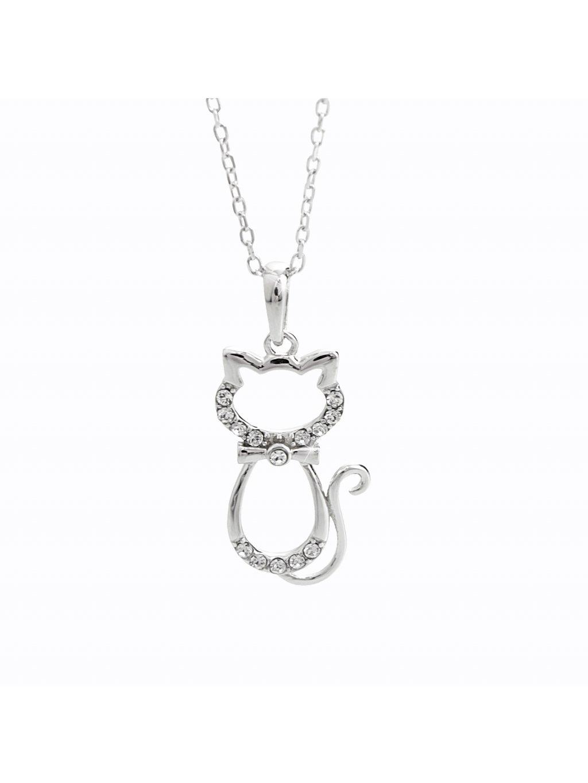 92300359cr Stříbrný náhrdelník kočička Swarovski