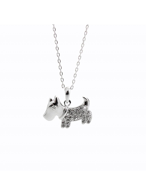 92300361cr Stříbrný náhrdelník Pejsek Swarovski