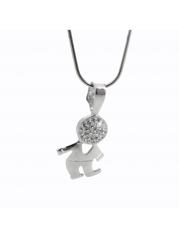 92300362crStříbrný náhrdelník Panáček Swarovski crystal