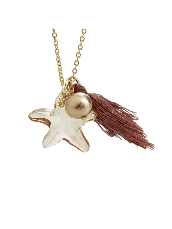 Náhrdelník Mořská hvězdice s ozdobou a kameny Swarovski® Gold Shadow 61300736g gsh