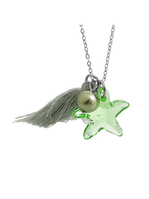 Náhrdelník Mořská hvězdice s ozdobou a kameny Swarovski®  Peridot 61300736per