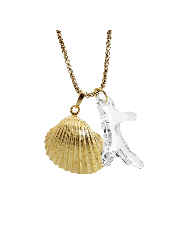 Náhrdelník Korál s mušlí Swarovski® Crystal 61300737g cr