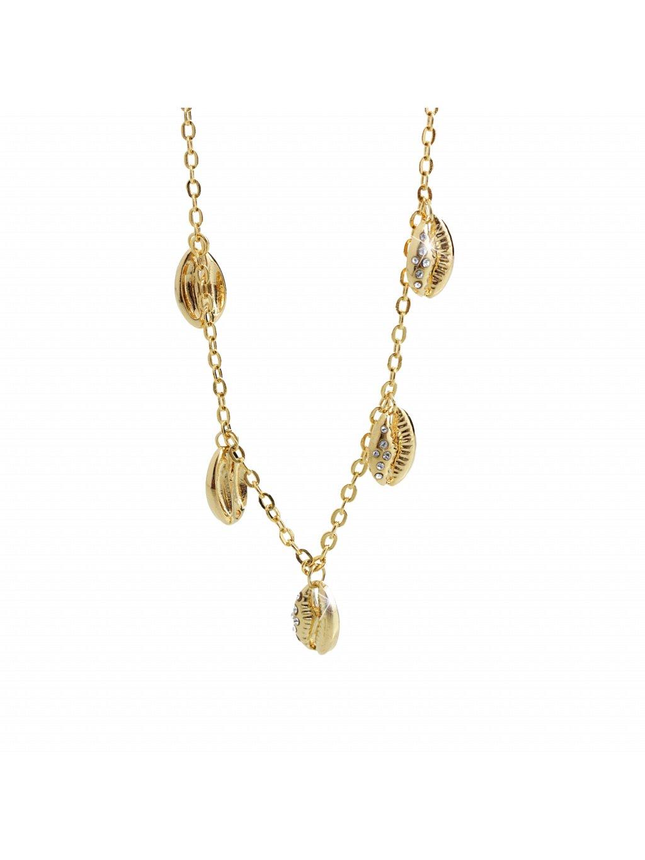 Náhrdelník s přívěšky mušle kauri Swarovski® Gold 61300739g cr