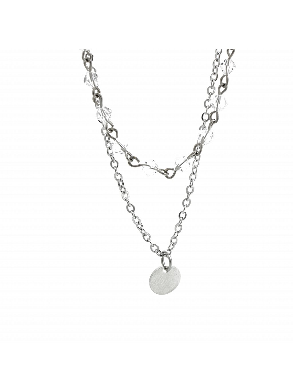 Náhrdelník dvojitý s jednoduchým medailonkem Swarovski® Crystal 61300746cr
