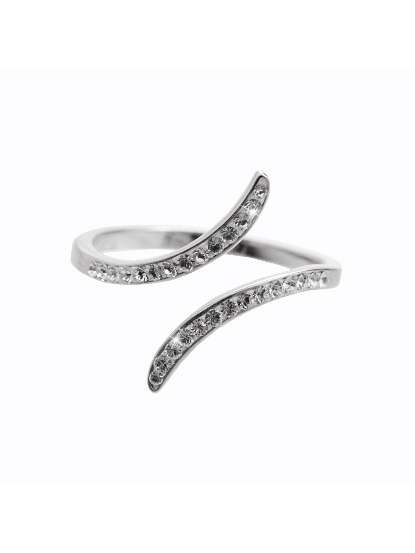 92700316crStříbrný prsten Vlnka Swarovski crystal