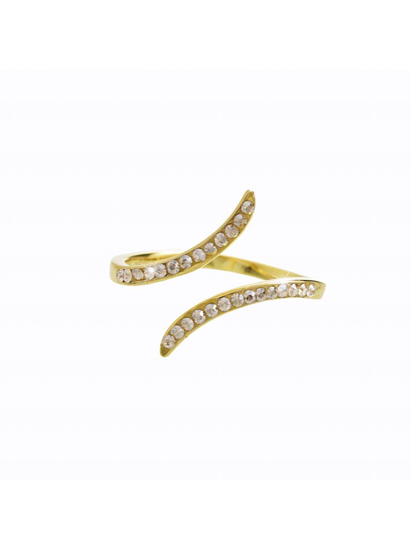 92700316gshStříbrný prsten Vlnka Swarovski crystal gold