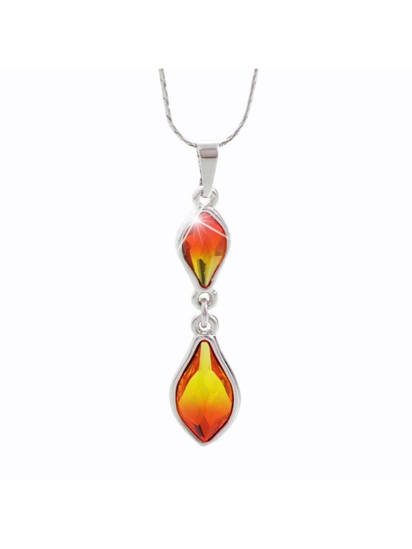 Náhrdelník Kapka ohně s kameny Swarovski® Fire Opal