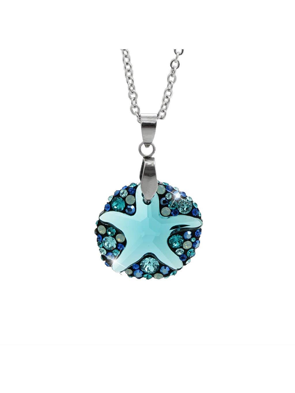 Náhrdelník Mořská hvězdice ponořena do kruhu Swarovski® Indicolite 61300763ind