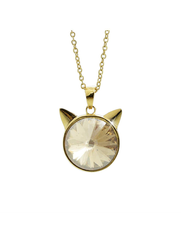 Náhrdelník Hlava kočky Swarovski® Gold Gold Shadow 16 mm 61300784g gsh