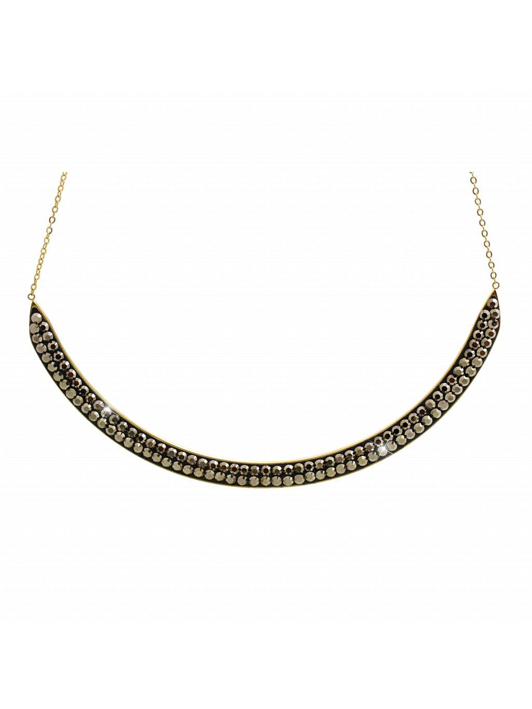 Ocelový náhrdelník Oblouk Swarovski® Gold Metallic Light Gold 61300814g mlgld