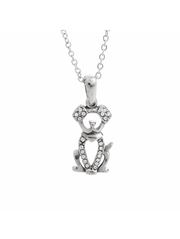 Ocelový náhrdelník Pejsek Swarovski® Crystal 61300836cr