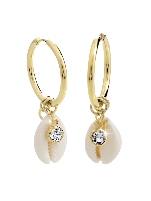 Ocelové náušnice Kauri mušle Swarovski® Crystal Gold 61400731g