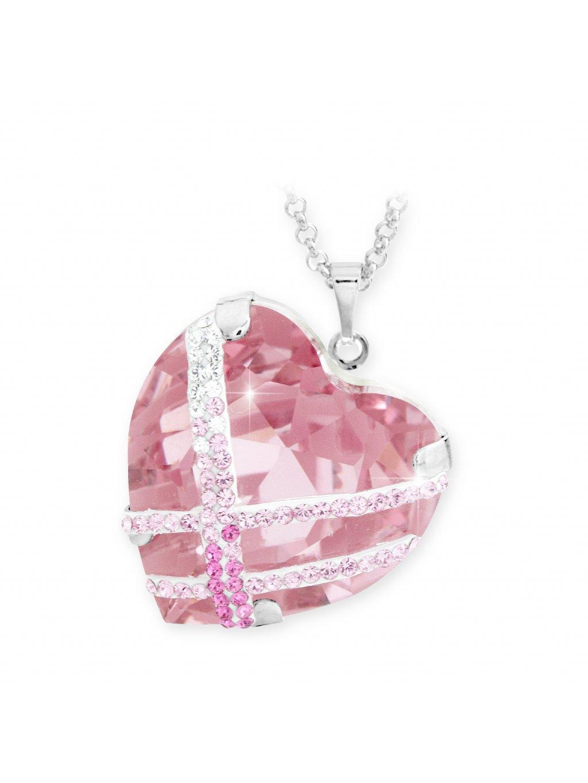 Náhrdelník Křišťálové srdce s kamínky Swarovski® Rose 61300689ro