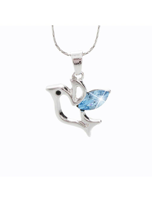 Náhrdelník Holubička s kameny Swarovski® Aquamarine