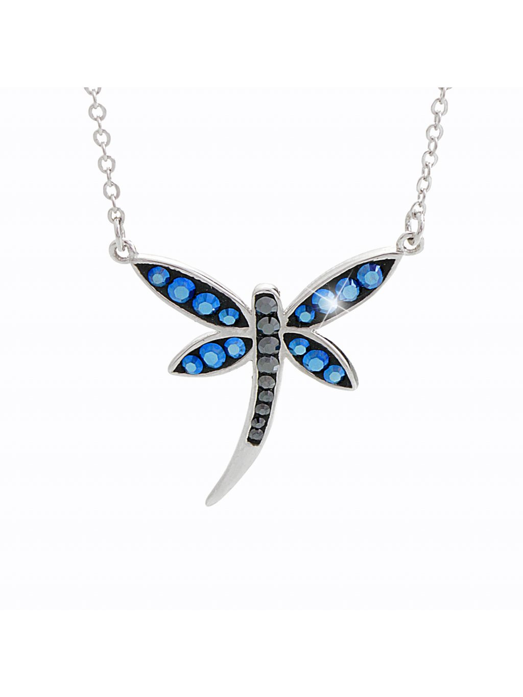 92300159bb Stříbrný náhrdelník Vážka Swarovski blue