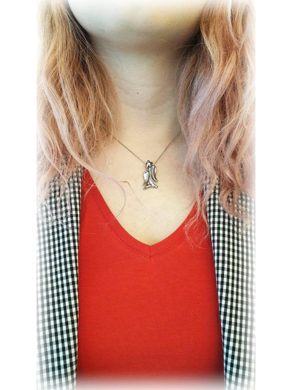 J61300380CR Náhrdelník Anděl s křišťálky s kameny Swarovski® Crystal
