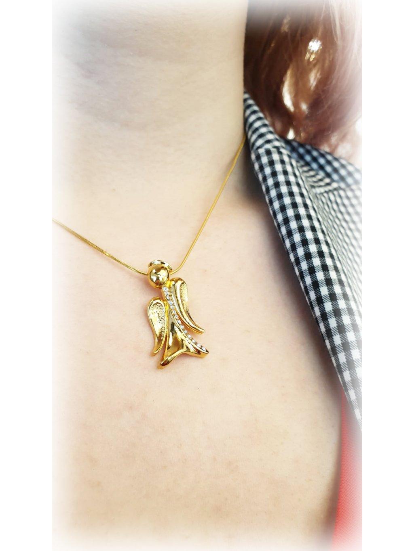 J61300380G Náhrdelník Anděl s křišťálky Swarovski® Gold