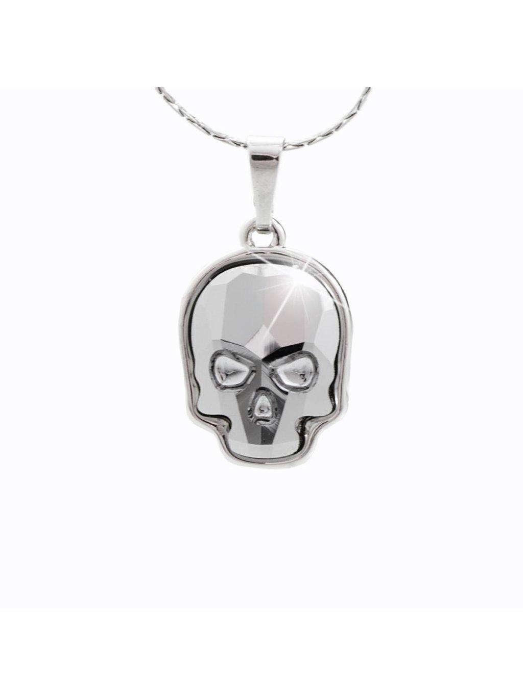Náhrdelník Lebka malá s kameny Swarovski® Black diamond