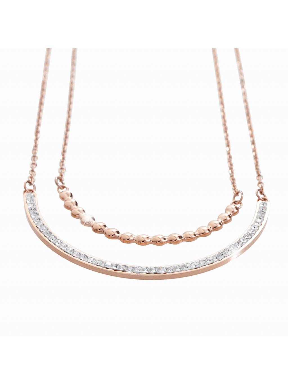 Ocelový náhrdelník River Swarovski® Crystal Rose Gold 61300546rg