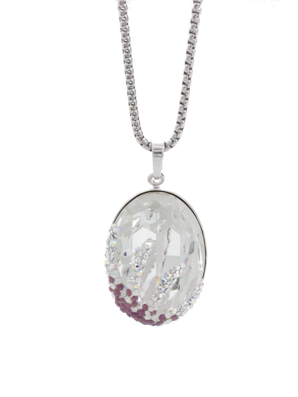 Náhrdelník Ovál s hvězdicí s kameny Swarovski® Crystal 30 mm