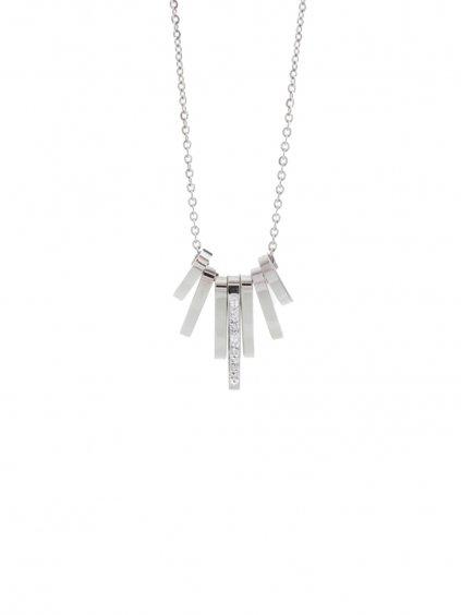 J61300462CR Ocelový náhrdelník Tyčinky s kameny Swarovski® Crystal