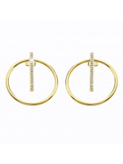 Ocelové náušnice Kruh s linkou Swarovski® Gold Crystal 61400461g