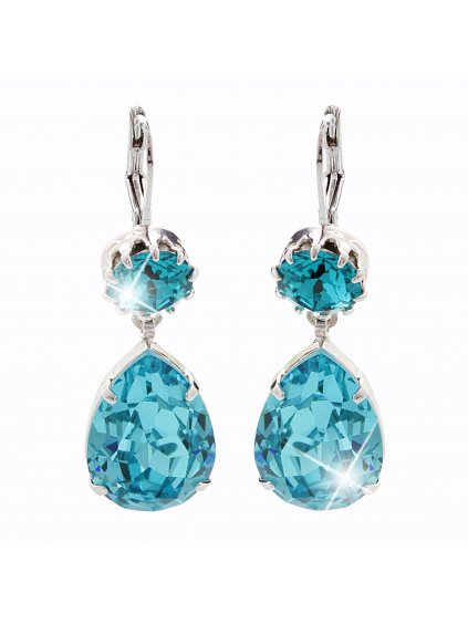 Náušnice Drop s kameny Swarovski® Aquamarine 61400465aq
