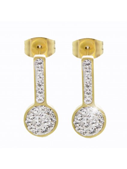 Ocelové náušnice Vara Swarovski® Gold Crystal 61400472g