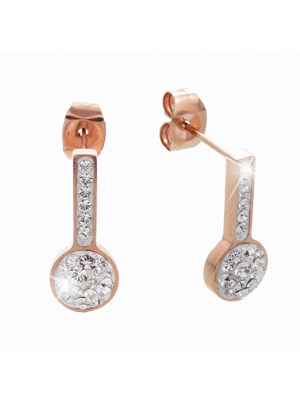 Ocelové náušnice Vara Swarovski® Rose Gold Crystal 61400472rg