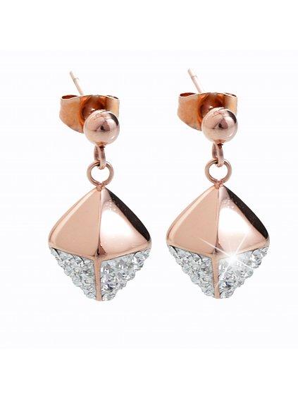 Ocelové náušnice Cube Swarovski® Rose Gold Crystal 61400473rg