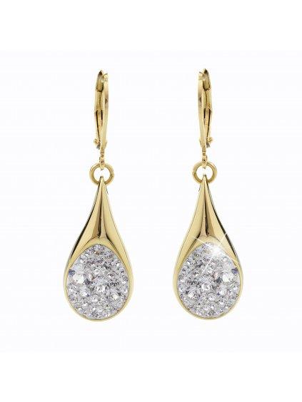 Ocelové náušnice Drop s kameny Swarovski® Gold Crystal 61400476g