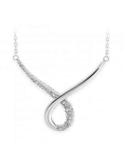 J61300470CR Ocelový náhrdelník Smyčka s kameny Swarovski® Crystal