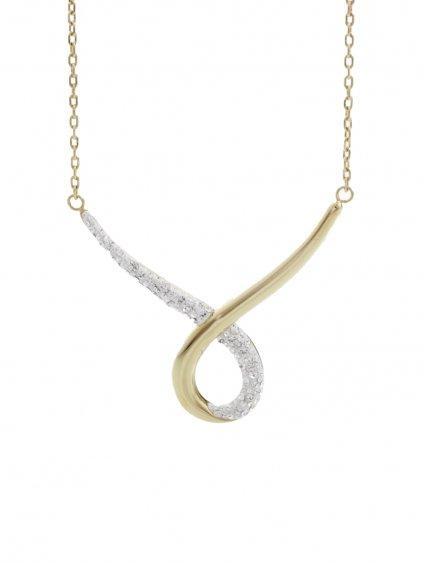 J61300470G Ocelový náhrdelník Smyčka s kameny Swarovski® Gold